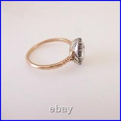 15ct gold Georgian very large rose cut diamond solitaire domed back ring, rare