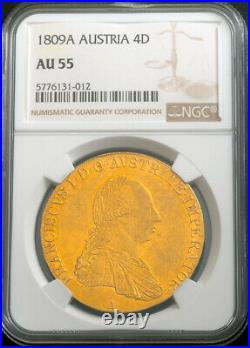 1809, Austrian Empire, Francis I. Large Gold 4 Ducats Coin. Very Rare! NGC AU55