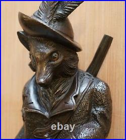 1870 Very Rare Extra Large Musical Swiss Black Forest Fox Whip Hook Glass Eyes