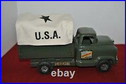 1958 BUDDY L ARMY TRUCK with CANVAS CANOPY WITH MISSILE LAUCHER