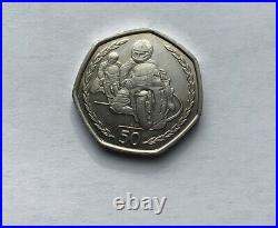 1997 very rare large size 30mm Isle of Man TT 50p Coin