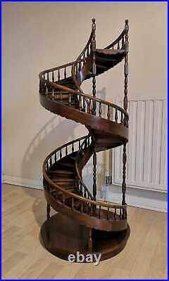 A Large Architectural Scale Model of a Spiral Staircase in Mahogany. Very Rare