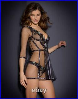 Agent Provocateur PETUNIA Gown L/4 NWT Black Orig. $690 VERY RARE