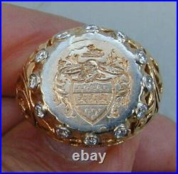 Antique Large Men's 14K Yellow Gold Ring With Round Diamonds 1940's Very Rare