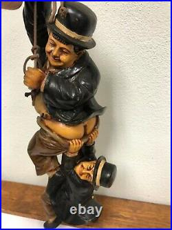 Antique Laurel & Hardy Dangling From A Rope Large 30 Figurine Statue Very Rare