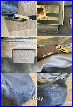 Authentic Fendi Mama Gray Leather Tortoise Accent Large BagVery Rare