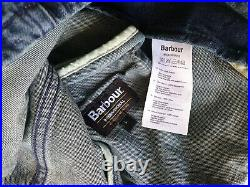 Barbour Jacket Mens Blue Denim Cotton Biker Bomber Very Rare New with Tags L / M