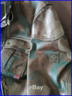 Belstaff Cougar Camouflage Blouson Leather Jacket Black, Very Rare, Size L