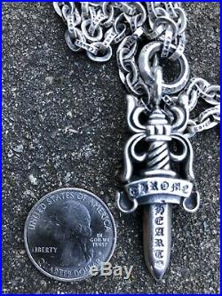 CHROME HEARTS Large Double Dagger Necklaces 35 Long Chain Very RARE