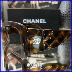 Chanel Frames Brown Quilted Large Sunglasses Eyeglasses No Lenses VERY RARE