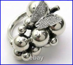 Georg Jensen Moonlight Grape Large Ring With Diamond Butterfly. Very Rare