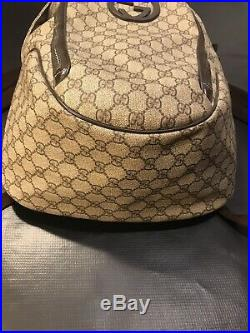 Gucci Gg Brown Large Backpack Bag Very Rare $1,995 Retail 100 Percent Authentic