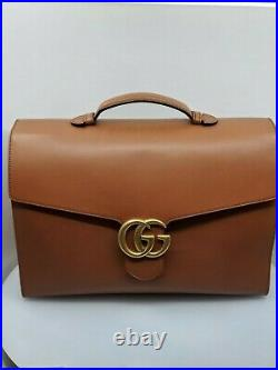 Gucci Men's Marmont GG Brown/Cognac Leather Briefcase, Limited, Very Rare NEW