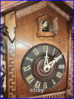 Large very Rare Vintage Antique 2 Weights Germany Striking Cuckoo Clock