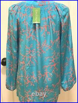 Nwt Lilly Pulitzer L Elsa Silk Turquoise Coral Me Crazy Very Rare Find