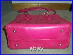 Patricia Nash Pink and Silver Floral Tooled Cavo Tote EUC-VERY RARE COLOR