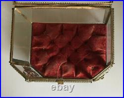 Rare, Very Large French Antique Nap III Display Box Bevelled Glass & Brass -1870