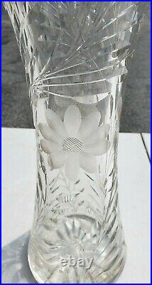 Rare Very Tall 16 Large Cut Crystal/Glass Corset Vase Daisy Daisies Antique