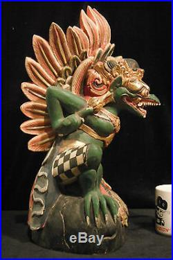 Traditional Balinese Wood Carving of Garuda Very Large 18.5 (47 cm) Rare 1900's
