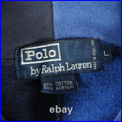 Used 1992 Polo RalphLauren Stadium Hoodie Blue Color Size L Men's Very Rare