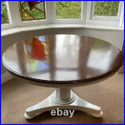 VERY Large SOLID Mahogany Dining Table Seats 6 Round Pedestal RARE Tilt Top