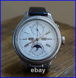 VERY RARE 52mm REPEATER MOON PHASE CALENDAR BY LE PHARE 1890 LARGE WRISTWATCH