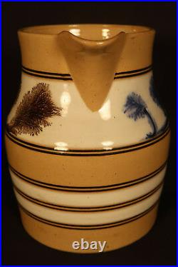 VERY RARE LARGE 1800s BLUE & BROWN MOCHA TREES PITCHER MOCHAWARE YELLOW WARE