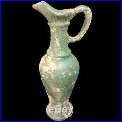VERY RARE LARGE ANCIENT ROMAN GREEN GLASS POURING JUG WITH HANDLE 1st Century