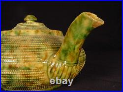 VERY RARE LARGE GREEN and BROWN SPATTER GLAZE SIGNED TEAPOT YELLOW WARE