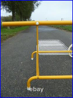VERY RARE LARGE MEMPHIS STYLE BAR CART TROLLEY BY EMU ITALY 1980s YELLOW