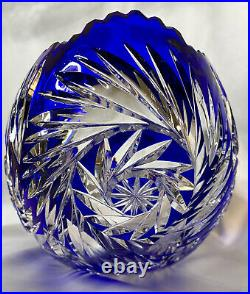 VERY RARE LRG ANTQ GERMAN COBALT BLUE CUT to CLEAR CRADLE OVAL CRYSTAL BOWL