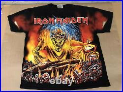 VERY RARE Vintage 1990s Iron Maiden Eddie & Hell All Over Print T-shirt Size L