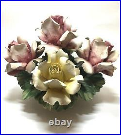 VERY RARE Vintage Capodimonte Made in Italy Flower Large Flower Basket