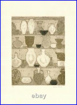 Valerie Thornton rare very large etching Vases 5/50 pencil signed, numbered