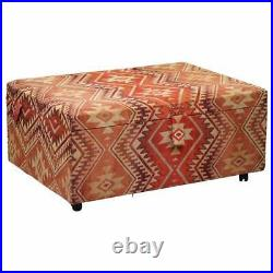 Very Large Rare Victorian Silk Lined Kilim Upholstered Ottoman Truck Stool Bench