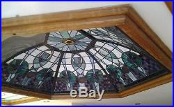 Very Large Stained Glass Roof Light Dome Window Leaded Solid Oak Custom Rare