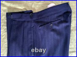 Very Rare 1940s Saville Row heavy double-breasted pinstripe wool silk men's suit