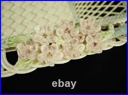 Very Rare Belleek Large 7 1/2 Inch Square Basket Handles Pink Flowers Exc Cond
