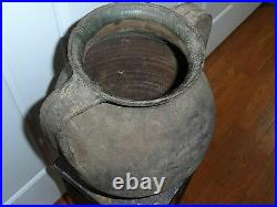 Very Rare Early 1700's Moravian Large Double handled water Vessel Pottery Jug