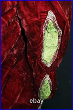 Very Rare French Victorian Theatre Costume Red Silk Velvet Jacket Size Large