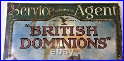 Very Rare & Large Antique Pictorial'British Dominions' Motor Policy Enamel Sign