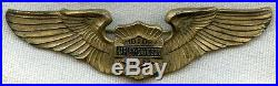 Very Rare Late 1930s-Early 1940s Harley-Davidson Large Wing in Gold-Plated Brass