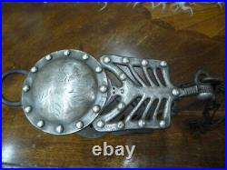 Very Rare Old Large Silver Inlaid and Overlaid Spade Bit