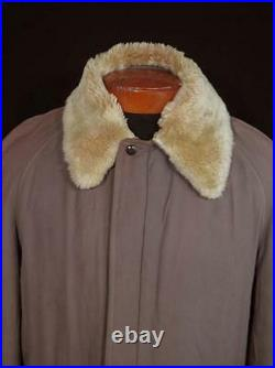 Very Rare Vintage 1940's-1950's Heavy Long Taupe Brown Gabardine Jacket Sz Large
