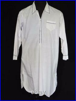 Very Rare Vintage 1940's-1950's Long French White Cotton Night Shirt Size Large