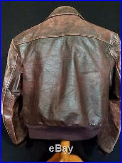 Very Rare Vintage 1950's Knopf Heavy Brown Leather Jacket Size Extra Large