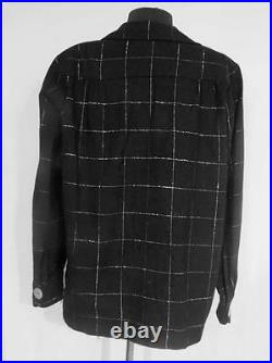 Very Rare Vintage 1950's Silver Lurex Black Wool Casual Woman's Jacket Size Lg