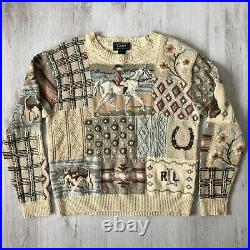 Very Rare Vintage 1990s Exclusive Hand Knit for Ralph Lauren Sweater Size Large