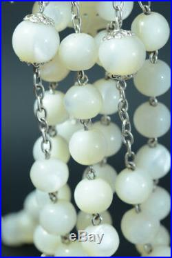 Very large 19thc french Rosary mother of pearl & sterling silver Ave Maria rare