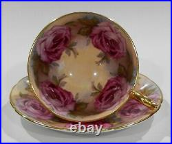 Very rare 1950s AYNSLEY LARGE PINK CABBAGE ROSES CUP & SAUCER Athens Shape